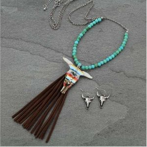 Steer Head Tassel Necklace Set